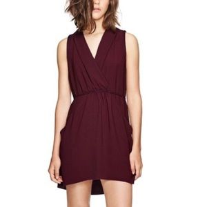 ARITZIA Wilfred Sabine Faux Wrap Dress Burgundy XS